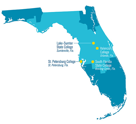 Map of Florida showing location of community college