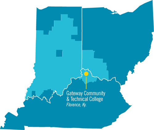 Map showing central location of Gateway Community & Tech College
