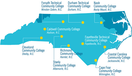 Map of North Carolina showing location of community colleges
