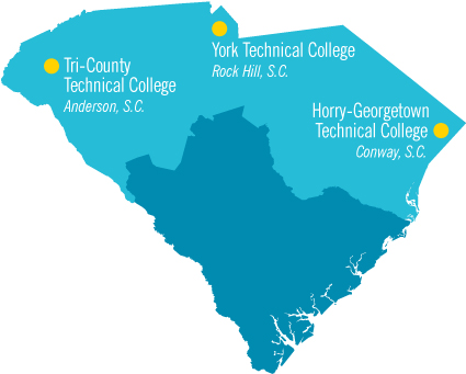 Map of South Carolina sowing location of community colleges
