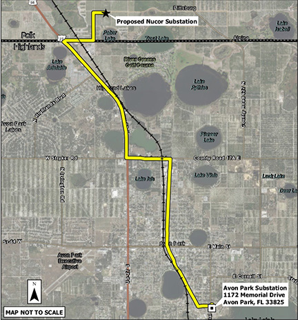 Small version of Polk Highlands project route map.