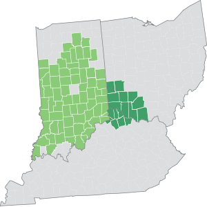 Map of Duke Energy service territories, showing Ohio, Kentucky and Indiana