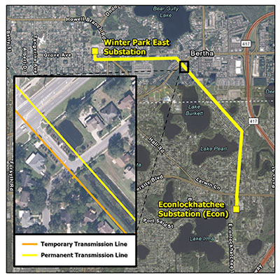Thumbnail showing route of Econ to Winter Park Transmission Line