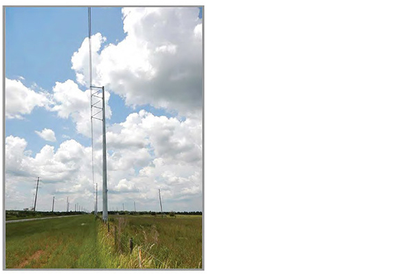 Images showing what a monopole transmission tower looks like.