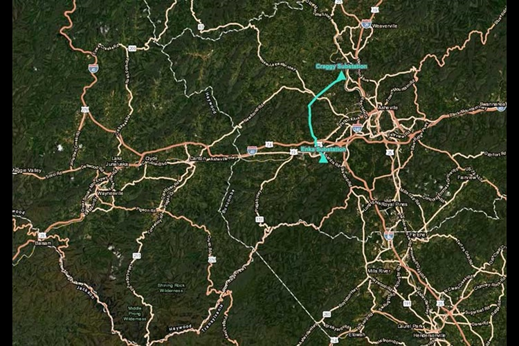 Pittsboro project map thumbnail showing transmission line routing