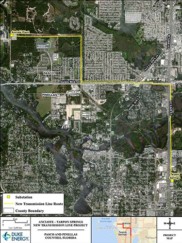 Thumbnail showing route of new Anclote transmission line.