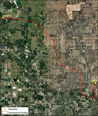 Route map thumbnail showing route of Martin West transmission line rebuild