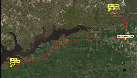 Aerial view of path of Lake Talquin transmission line