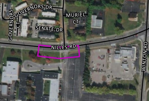Aerial view of Nilles road project route.