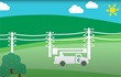 Animated drawing of utility truck within an easement right of way.