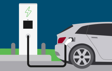 EV connected to fast charger