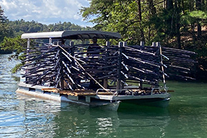 Fish habitat loaded on a boat prior to installation.