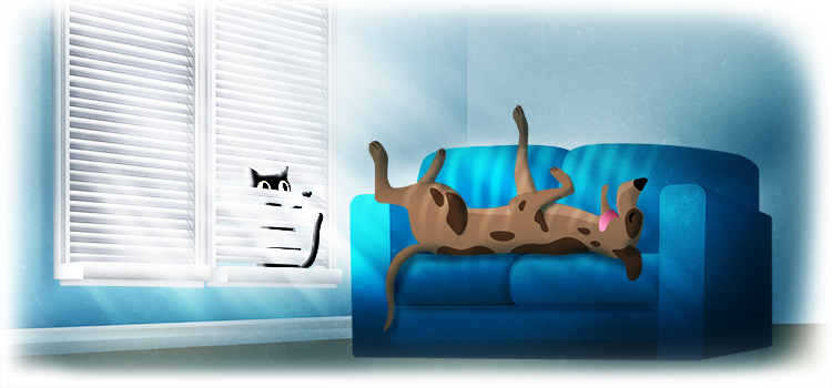 graphic of a dog lying down in a blue chair