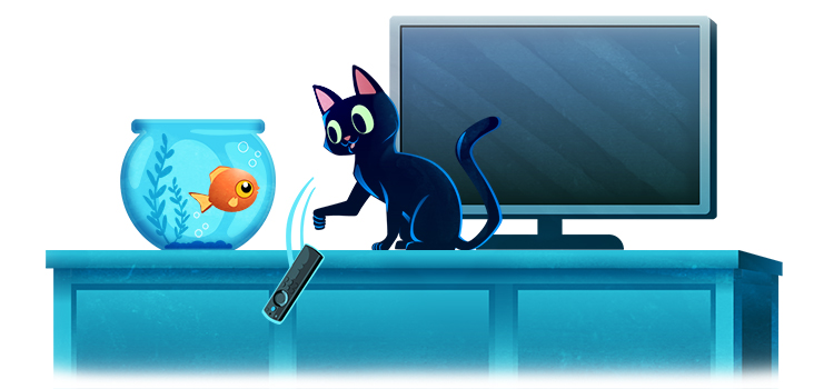 graphic of a cat turning off a TV